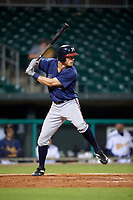 Mississippi Braves center fielder Connor Lien (5) at bat during a game against the Montgomery Biscuits on April 24, 2017 at Montgomery Riverwalk Stadium in Montgomery, Alabama.  Montgomery defeated Mississippi 3-2.  (Mike Janes/Four Seam Images)