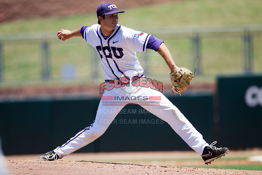 Pitcher Preston Morrison #18 of the Texas Christian University Horned Frogs delivers during the NCAA Regional baseball game against the Ole Miss Rebels on June 1, 2012 at Blue Bell Park in College Station, Texas. Ole Miss defeated TCU 6-2. (Andrew Woolley/Four Seam Images)