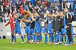 Freuen sich nach dem Sieg die Hoffenheimer beim Spiel in der Fussball Bundesliga, TSG 1899 Hoffenheim - VfL Wolfsburg.<br /> <br /> Foto &copy; PIX-Sportfotos *** Foto ist honorarpflichtig! *** Auf Anfrage in hoeherer Qualitaet/Aufloesung. Belegexemplar erbeten. Veroeffentlichung ausschliesslich fuer journalistisch-publizistische Zwecke. For editorial use only.