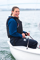 Skipper Michaella Pace has a laugh during Salve Regina practice in the Newport Habor.