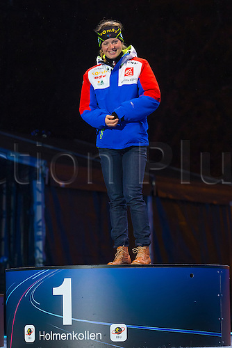 09.03.2016. Holmenkollen, Oslo, Norway. IBU Biathlon World Cup.   Marie Dorin Habert of France gold medal at the Medal Ceremony during the IBU World Championships Biathlon in Holmenkollen