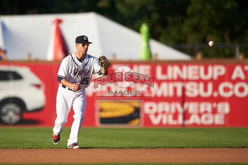 Syracuse Chiefs second baseman Scott Sizemore (25) fields a ground ball during a game against the Louisville Bats on June 6, 2016 at NBT Bank Stadium in Syracuse, New York.  Syracuse defeated Louisville 3-1.  (Mike Janes/Four Seam Images)