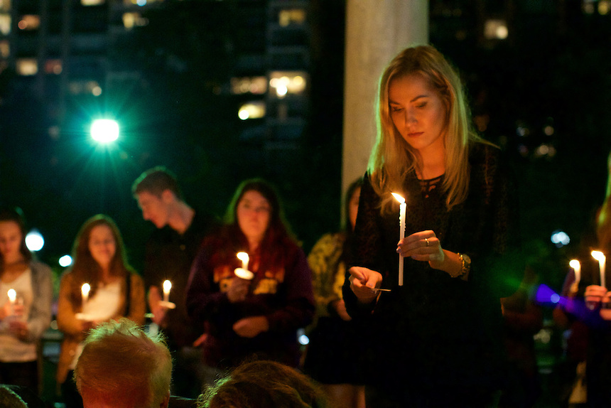 Demi Vitkute '17 walked her candle to the center of the 9/11 Vigil.