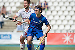GER - Mannheim, Germany, April 15: During the field hockey 1. Bundesliga match between Mannheimer HC (blue) and Rot-Weiss Koeln (white) on April 15, 2018 at Am Neckarkanal in Mannheim, Germany. Final score 2-2. (Photo by Dirk Markgraf / www.265-images.com) *** Local caption *** Luis Holste of Mannheimer HC, Hendrik Schwarzer #16 of Rot-Weiss Koeln