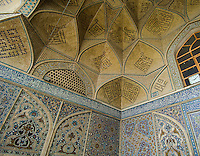This picture shows some of the detail in the tiles inside the south eivan of the Jameh (Friday) Mosque at Isfahan, Iran. The south eivan was built and decorated in the 14th century Mongol era.