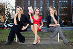 """Triple Take"".Model Suzanne McCabe, pictured launching Veronica Canning's new book Shoeisms""."