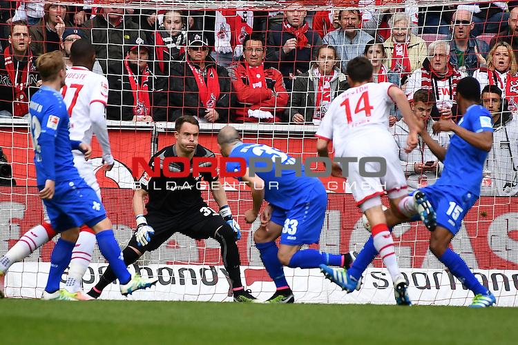23.04.2016, RheinEnergie Stadion, Koeln, GER, 1.FBL,  1. FC Koeln vs SV Darmstadt 98<br /> im Bild / picture shows: <br /> Torchance FC Anthony Modeste (1. FC Koeln #27) und Jonas Hector (1. FC Koeln #14) mitte Christian Mathenia Torwart (SV Darmstadt 98 #31) geb&uuml;ckt Luca Caldirola (SV Darmstadt 98 #33) re J&uacute;nior / Junior  D&iacute;az / Diaz (SV Darmstadt 98 # 15)<br /> <br /> <br /> <br /> Foto &copy; nordphoto / meuter
