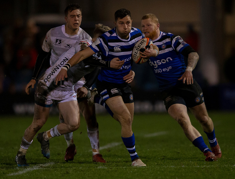 Bath Rugby's Max Green in action during todays match<br /> <br /> Photographer Bob Bradford/CameraSport<br /> <br /> Gallagher Premiership - Bath Rugby v Gloucester Rugby - Monday 4th February 2019 - The Recreation Ground - Bath<br /> <br /> World Copyright &copy; 2019 CameraSport. All rights reserved. 43 Linden Ave. Countesthorpe. Leicester. England. LE8 5PG - Tel: +44 (0) 116 277 4147 - admin@camerasport.com - www.camerasport.com