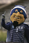 "05 October 2007: Duke's Blue Devil mascot, wearing a headband reading ""BC vs. Duke = Eagles Extinction"". Boston College defeated Duke University at Koskinen Stadium in Durham, North Carolina in an NCAA Men's soccer game."