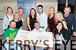 The organisers of last July's Four Peaks challenge presented the cheque to the Kerry Hospice Foundation in the Killarney Court Hotel on Saturday front row l-r: Kevin Maguire, Conor Cusack Ky Hospice, Mags Gaynor. Back row: Margaret Lucey, Michelle Griffin, Mark Allen, Marian Cassidy, Paul Cassidy, Laura Marcelin, Maria Horgan and Andy Rice