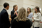 "Sept. 1, 2013; Honorable Michele Flournoy, chats with students after the first event of the 2013-14 Notre Dame Forum: ""Women in Leadership"" in Leighton Concert Hall at DeBartolo Performing Arts Center. Photo by Barbara Johnston/University of Notre Dame"