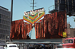 Rick Wakeman billboard for his record Journey to the Center of the Earth on the Sunset Strip, Los Angeles, CA