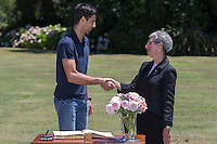 February 1, 2016: Novak Djokovic of Serbia shakes hands with Her Excellency the Honourable Linda Dessau AM<br /> Governor of Victoria during the Men's Champion Photocall  at Government House, Melbourne, Australia. Photo Sydney Low