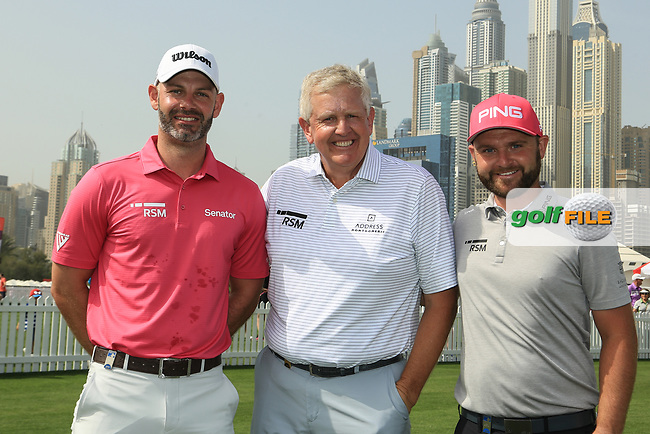 Paul Waring (ENG), Colin Montgomerie (SCO) and Andy Sullivan (ENG) pose for a photograph prior to the second round of the Omega Dubai Desert Classic, Emirates Golf Club, Dubai, UAE. 25/01/2019<br /> Picture: Golffile | Phil Inglis<br /> <br /> <br /> All photo usage must carry mandatory copyright credit (© Golffile | Phil Inglis)
