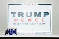 Campaign signs are seen in the Donald Trump campaign office in Hialeah, Miami, Florida, on Sun., Oct. 9, 2016.
