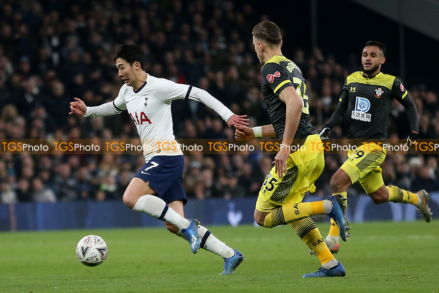 Son Heung-Min of Tottenham Hotspur and Jan Bednarek and Sofiane Boufal of Southampton during Tottenham Hotspur vs Southampton, Emirates FA Cup Football at Tottenham Hotspur Stadium on 5th February 2020