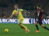 Valon Behrami   in action during the Italian Serie A soccer match between SSC Napoli and Genoa CFC   at San Paolo stadium in Naples, Feburary 24 , 2014