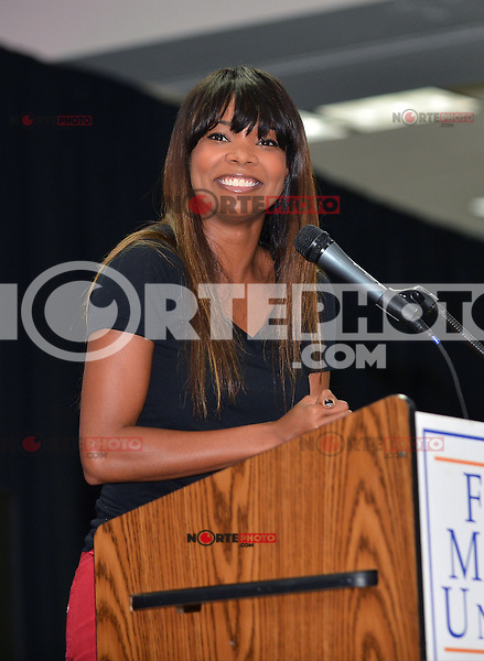 MIAMI, FL - NOVEMBER 02: Gabrielle Union speaks and participates during a student voter kickoff Drive on November 2, 2012 in Miami, Florida. © MPI10/MediaPunch Inc /NortePhoto .<br /> ©NortePhoto