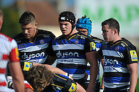 Tom Ellis and the rest of the Bath Rugby forwards pack down for a scrum. West Country Challenge Cup match, between Gloucester Rugby and Bath Rugby on September 13, 2015 at the Memorial Stadium in Bristol, England. Photo by: Patrick Khachfe / Onside Images