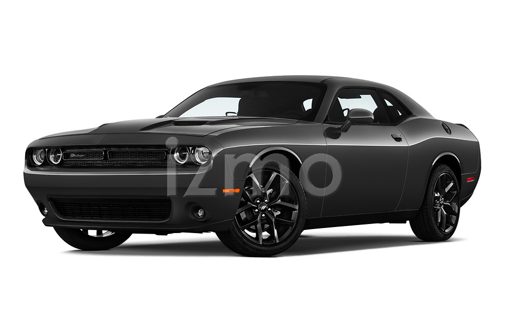 Stock pictures of low aggressive front three quarter view of a 2019 Dodge challenger SXT 2 Door Coupe