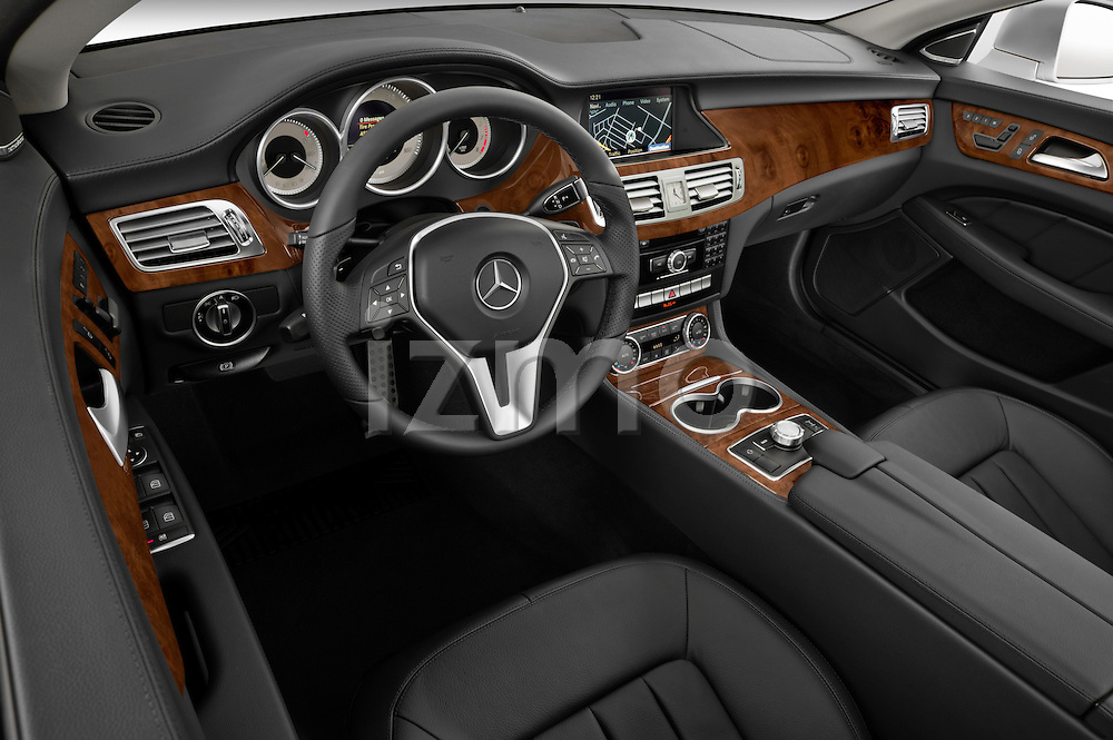 High angle dashboard view of a 2012 Mercedes CLS Class
