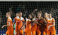 Allston, Massachusetts - August 16, 2017:  In a National Women's Soccer League (NWSL) match, Houston Dash  (orange) defeated Boston Breakers (blue), 3-1, at Jordan Field.<br /> <br /> Goal celebration.