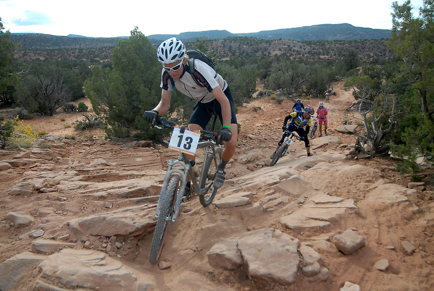 Competitors mountain bike during the 2007 24 hours of Moab endurance mountain bike race.