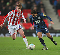 Blackburn Rovers Bradley Dack in action with Stoke City's Sam Clucas<br /> <br /> Photographer Mick Walker/CameraSport<br /> <br /> The EFL Sky Bet Championship - Stoke City v Blackburn Rovers - Saturday 30th November 2019 - bet365 Stadium - Stoke-on-Trent<br /> <br /> World Copyright © 2019 CameraSport. All rights reserved. 43 Linden Ave. Countesthorpe. Leicester. England. LE8 5PG - Tel: +44 (0) 116 277 4147 - admin@camerasport.com - www.camerasport.com