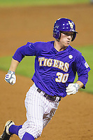 LSU Tigers shortstop Alex Bregman #30 rounds third base against the Auburn Tigers in the NCAA baseball game on March 23, 2013 at Alex Box Stadium in Baton Rouge, Louisiana. LSU defeated Auburn 5-1. (Andrew Woolley/Four Seam Images).