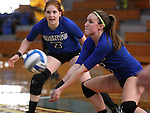 Marymount University's Courtny Carroll and Cassidie Watson, rear, during college volleyball action at Goucher College in Towson, MD, on Friday, Oct. 7, 2011..Photo by Cathleen Aliison