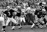 Oakland Raiders QB Daryle Lamonica with protection from Bob Svihus, Jim Otto and Pete  Banaszak..against the Kansas City Chiefs. (1970 photo/Ron Riesterer)