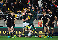 The Springboks celebrate winning the Rugby Championship match between the New Zealand All Blacks and South Africa Springboks at Westpac Stadium in Wellington, New Zealand on Saturday, 15 September 2018. Photo: Mike Moran / lintottphoto.co.nz