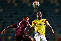 RANCAGUA - CHILE, 07-02-2019:  Jesus Vargas de Venezuela disputa el balón con Andres Balanta de Colombia durante partido por la fecha 4 de la fase final del Sudamericano Masculino Sub 20 Chile 2019 jugado en el estadio El Teniente de Rancagua en Rancagua, Chile. / Jesus Vargas de Venezuela fights for the ball with Andres Balanta of Colombia during match for the date 4 of final phase of South American Men U-20 Chile 2019 played at El Teniente de Rancagua stadium in Rancagua, Chile. Photo: VizzorImage / Pablo Vera / Cont / XpressMedia