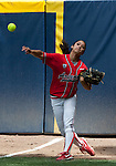 April 15, 2012:  Arizona Wildcats right fielder Chelsea Suitos throws the ball in from the corner of the outfield against the California Bears during their NCAA softball game played at Levine-Fricke Field on Sunday afternoon in Berkeley, California.  California won the game 6-0.