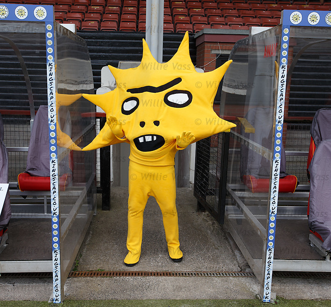 Partick Thistle launch new sponsor, Califonia based Kingsford Capital Management and new mascot Kingsley emerging from the tunnel at Firhill