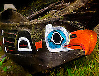 A Tlingit-style canoe sits among totem poles in Potlatch Park in Ketchikan, Alaska, pictured here on Wednesday, September 7, 2011