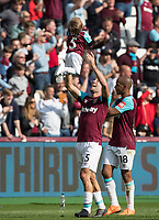Pablo Zabaleta of West Ham during post match lap of the pitch during the Premier League match between West Ham United and Everton at the Olympic Park, London, England on 13 May 2018. Photo by Andy Rowland / PRiME Media Images.
