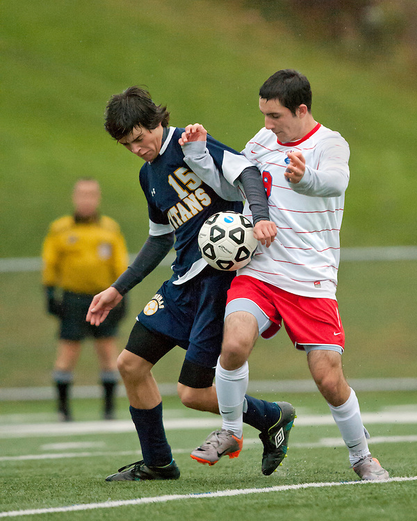October 21, 2010 - Webster Thomas' Colin Johnson, left, and Fairport's Chris Ferrara compete for control of the ball. Fairport won 1-0.
