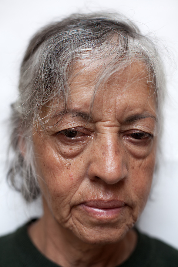 Portrait of Rosa, a resident of Casa Xochiquetzal, at the shelter in Mexico City on Septemer 14, 2010. Casa Xochiquetzal is a shelter for elderly sex workers in Mexico City. It gives the women refuge, food, health services, a space to learn about their human rights and courses to help them rediscover their self-confidence and deal with traumatic aspects of their lives. Casa Xochiquetzal provides a space to age with dignity for a group of vulnerable women who are often invisible to society at large. It is the only such shelter existing in Latin America. Photo by Bénédicte Desrus