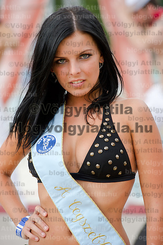 Evelin Szalai winner of the special prize for the most beautiful face during the Miss Bikini Hungary beauty contest held in Budapest, Hungary on August 06, 2011. ATTILA VOLGYI