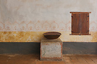 Holy Water Font at Mission La Purisima State Historic Park, Lompoc, California.  Mission La Purisima, founded in 1787 by Franciscan Padre Presidente Fermin Francisco Lasuen. La Purisima was the eleventh mission of the twenty-one Spanish Missions established in what later became the state of California.