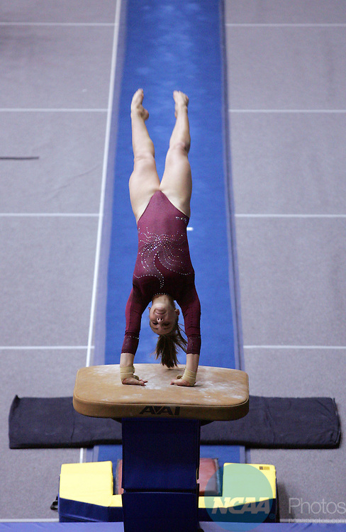21 APR 2006:   Brittany Magee of the University of Alabama competes in the vault during the Division I  Women's Gymnastics Super Six Championship held at Gill Coliseum on the Oregon State University campus in Corvallis, OR.  Magee tied for 7th place in the vault with a 9.900 score.  Jamie Schwaberow/NCAA Photos