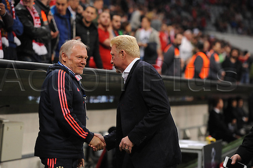 05.04.2016. Munich, Germany.  Muenchen Boris Becker meets Co-Trainer Hermann Gerland (FC Bayern Muenchen) UEFA Champions League quarterfinal in the Allianz Arena