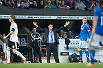 St Johnstone v Rosenborg....25.07.13  Europa League Qualifier<br /> Tommy Wright appeals to the referee<br /> Picture by Graeme Hart.<br /> Copyright Perthshire Picture Agency<br /> Tel: 01738 623350  Mobile: 07990 594431
