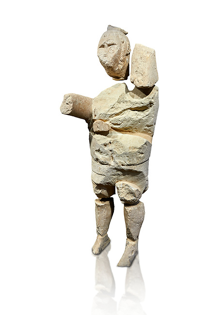 9th century BC Giants of Mont'e Prama  Nuragic stone statue of a boxer, Mont'e Prama archaeological site, Cabras. Museo archeologico nazionale, Cagliari, Italy. (National Archaeological Museum) - White Background