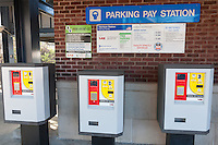 A pay station for the parking facility at the train station in Harrison, New York