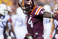 Landover, MD - SEPT 3, 2017: Virginia Tech Hokies defensive end Trevon Hill (94) is fired up after a tackle for a loss during game between West Virginia and Virginia Tech at FedEx Field in Landover, MD. (Photo by Phil Peters/Media Images International)