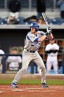 Indiana State Sycamores first baseman Jeff Zahn (35) at bat during a game against the Vanderbilt Commodores on February 20, 2015 at Charlotte Sports Park in Port Charlotte, Florida.  Vanderbilt defeated Indiana State 3-2.  (Mike Janes/Four Seam Images)