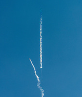 Rockets launch at the Spaceport America Cup near the town of Truth or Consequences, New Mexico, Saturday, June 24, 2017. The International Intercollegiate Rocket Engineering Competition hosted over 110 teams from colleges and universities in eleven countries. Students launched solid, liquid, and hybrid rockets to target altitudes of 10,000 and 30,000 feet. The 2017 Spaceport America Cup winner was the University of Michigan, Ann Arbor, Team 79.<br /> <br /> Photo by Matt Nager