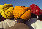 Asie, Inde du nord, état du Rajasthan, hommes avec turbans//Asia, north India, Rajasthan state, men wearing turbans